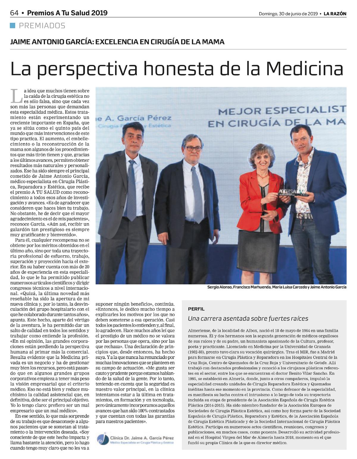 galardon al doctor cirujano Jaime García